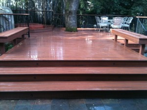 Deck with Benches and Rod Iron Railing
