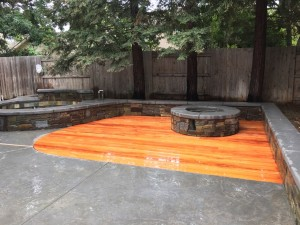 Mahogany Deck with Stone Walls a Fire Pit 1