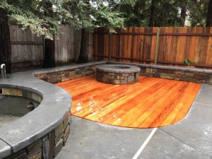 Mahogany Deck with Stone Walls a Fire Pit 2