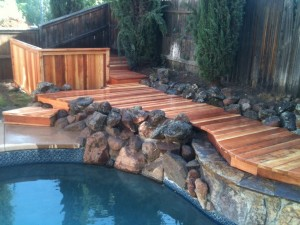 Redwood Pool Deck Cut In Around Rocks 1