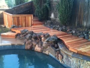 Redwood Pool Deck Cut In Around Rocks 1