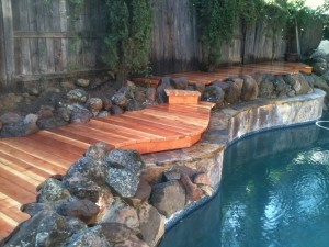Redwood Pool Deck Cut In Around Rocks 2