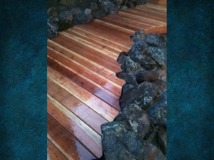 Redwood Pool Deck Cut In Around Rocks 3
