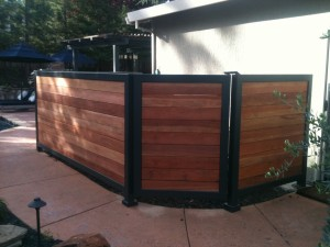 Steel Frame with Redwood Pool Equipment Screen 1