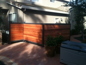 Steel Frame with Redwood Pool Equipment Screen 2