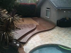 Curved poolside deck el dorado hills CA