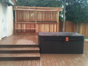 Composite spa deck & redwood privacy screen. Sacramento CA