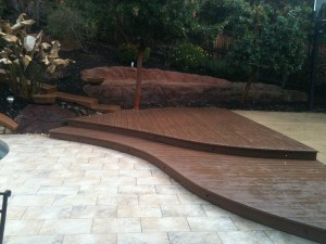 Curved composite deck with step lights.  El Dorado Hills, CA