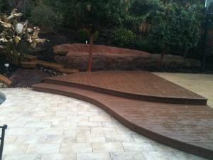 Curved composite deck with step lights.  El Dorado Hills, CA