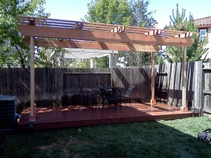 Backyard entertaining deck and patio cover. Elk Grove CA