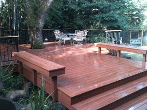 Timber Tech composite deck and benches. Folsom CA