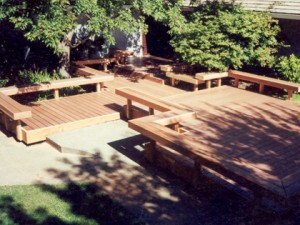 Artistic composite deck and benches. Sacramento CA