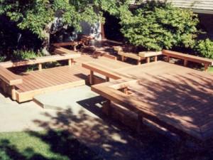 Artistic composite deck and benches. Sacramento CA