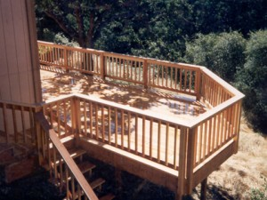Hillside redwood deck. Fair Oaks CA