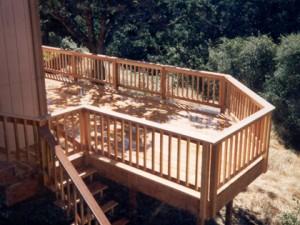 Hillside redwood deck. Fair Oaks CA