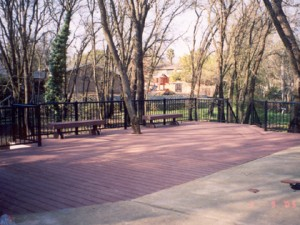 Trex composite deck with benches and railing. Orangevale CA