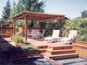 Redwood deck and patio cover Fair Oaks, CA