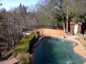 Composite Pool & hillside deck. Fair Oaks CA