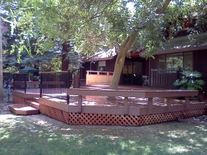 Composite Deck and benches. Fair Oaks CA