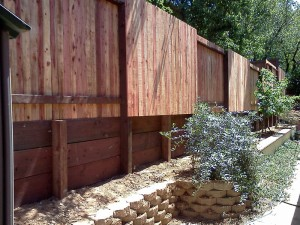 Retaining wall and fence. Folsom CA