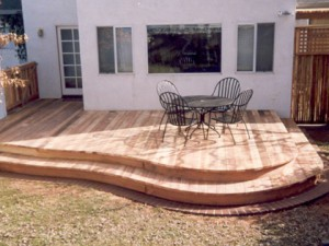 Rounded Redwood deck. Sacramento CA