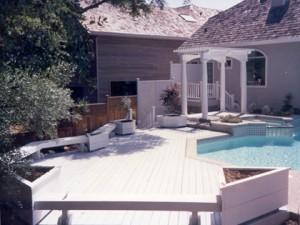 Redwood pool deck. Fair Oaks CA