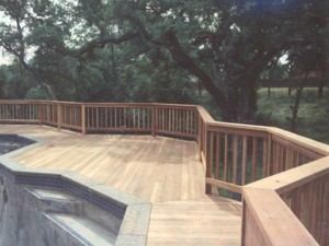 Redwood deck around pool. Fair Oaks CA