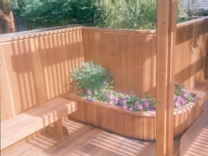 Curved redwood deck and privacy wall. Folsom, CA