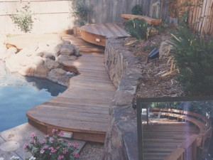 Curved Redwood Deck and curved railing, Grainite Bay, CA