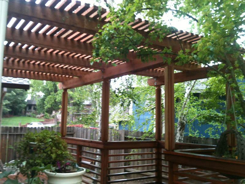 Wood Patio Cover With Columns. Fair Oaks, CA