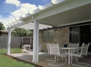 White Aluminum Patio Cover. Sacramento, CA